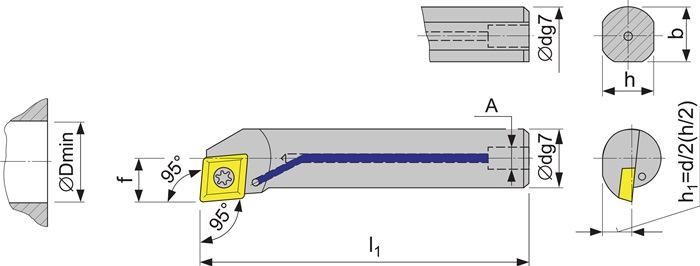 Boorstang A12K-SCLC 06 links vernikkeld m.IK met binnenkoeling PROMAT