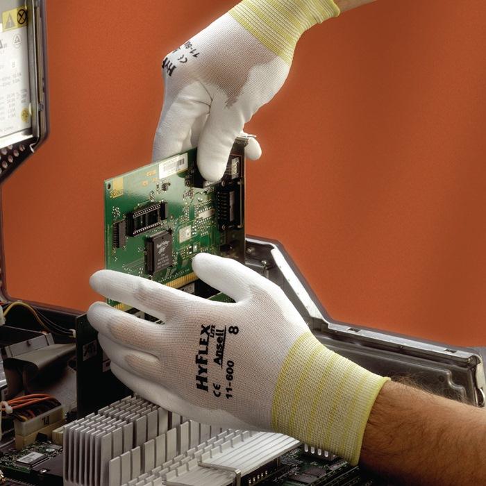Handschoen HyFlexfabr.nr11-600 mt7 nylon m.PUcoating wit gebr.band handp.gev.12p