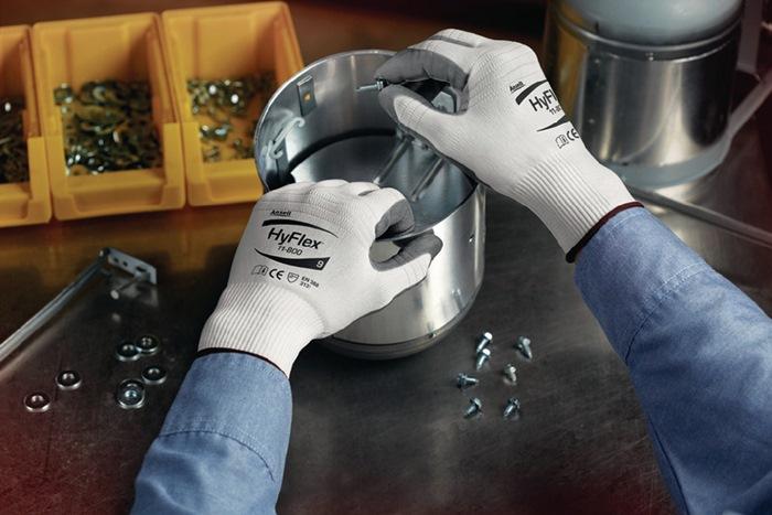 Handschoen EN388 cat II HyFlex 11-800 mt8 nylon m.nitrilschuimlaag wit/grijs