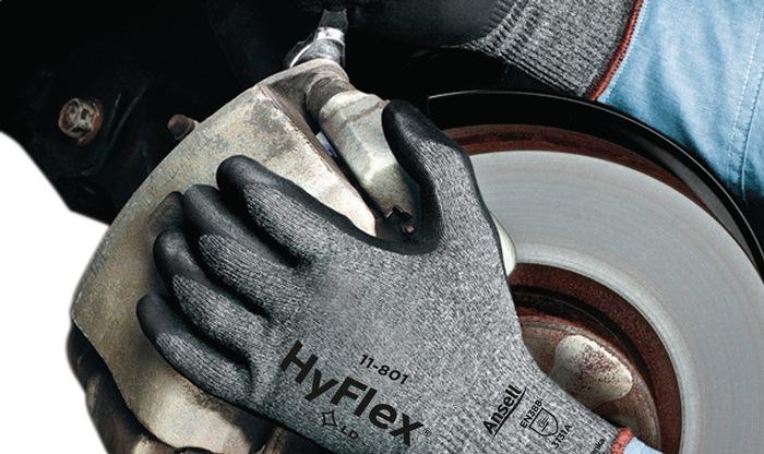 Handschoen EN388 cat II HyFlex 11-801 mt9 nylon m.nitrilschuimlaag grijs/zwart