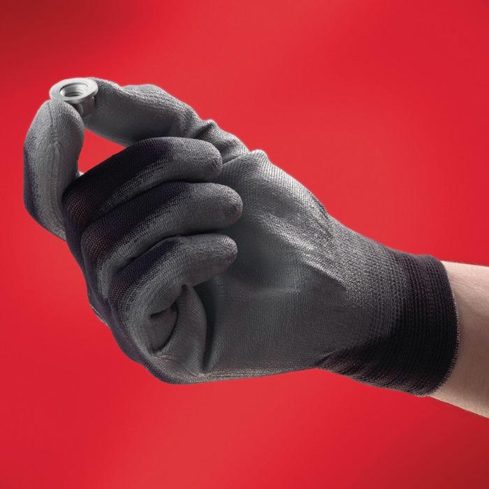 Handschoen HyFlexfabr.nr11-601 mt8 nylon m.PUcoat. grijs gebr.band handp.gev.12p