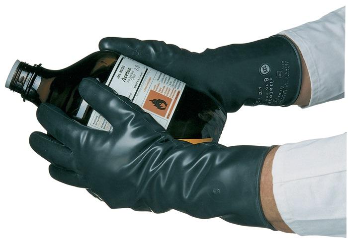 Handschoen Butoject 898 mt.8 l350mm zwart chem.bescherming KCL m.rolrand