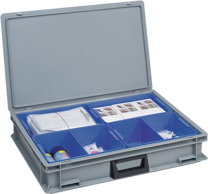 Kunststof koffer grijs L.600xB.400xH.133mm m.4 bakken 1 greep PP LOCKWEILER